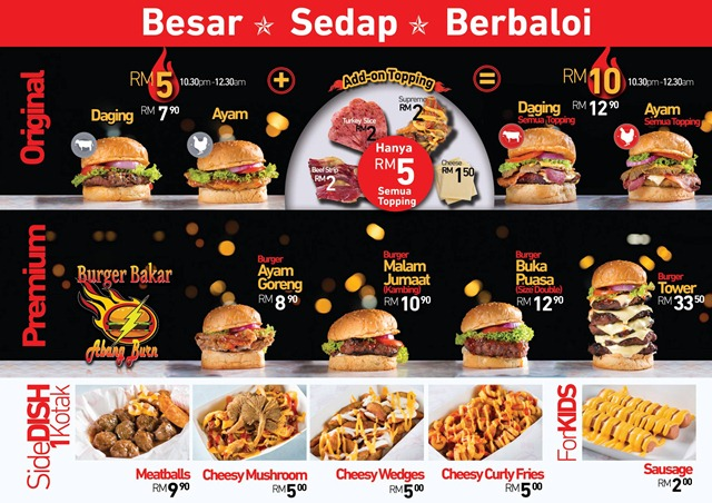 Menu Burger Bakar Abang Burn