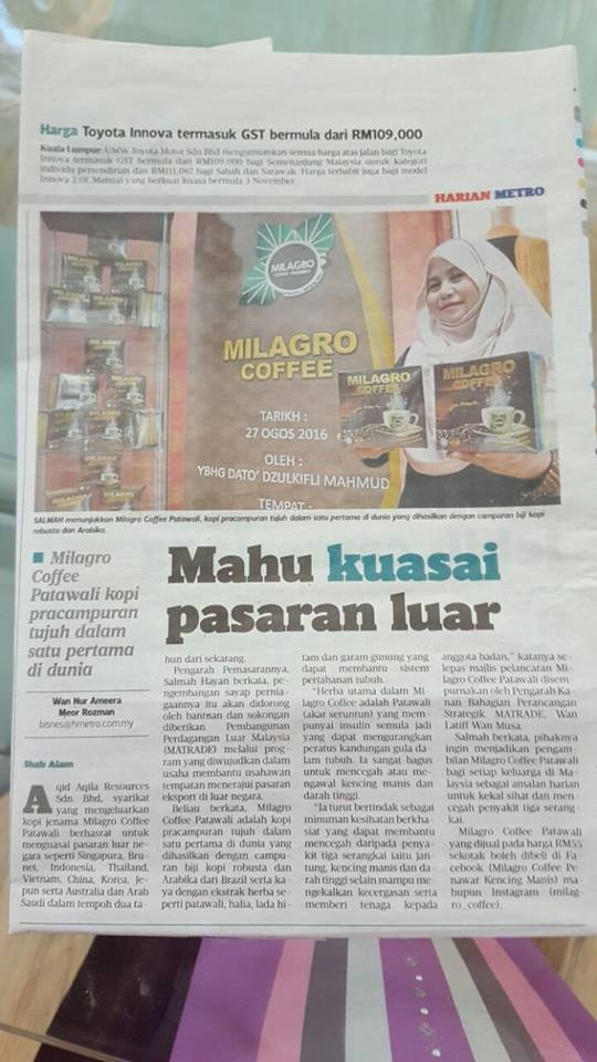 milagro coffee harian metro