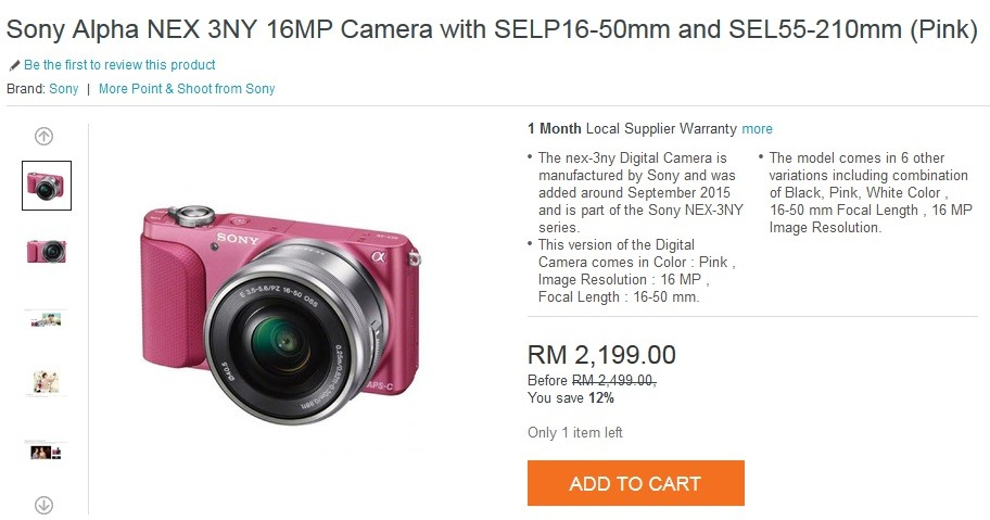 Sony Alpha NEX 3NY 16MP Camera with SELP16-50mm and SEL55-210mm (Pink)