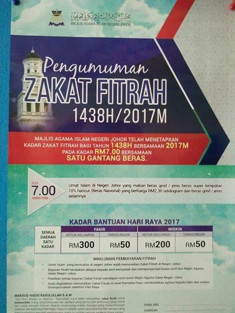 kadar zakat fitrah bagi negeri johor 1438H-2017M