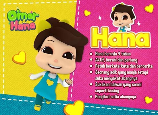 Hana biodata kartun animasi Omar dan Hana