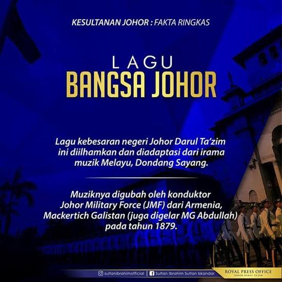 Fakta Lagu Bangsa Johor 1