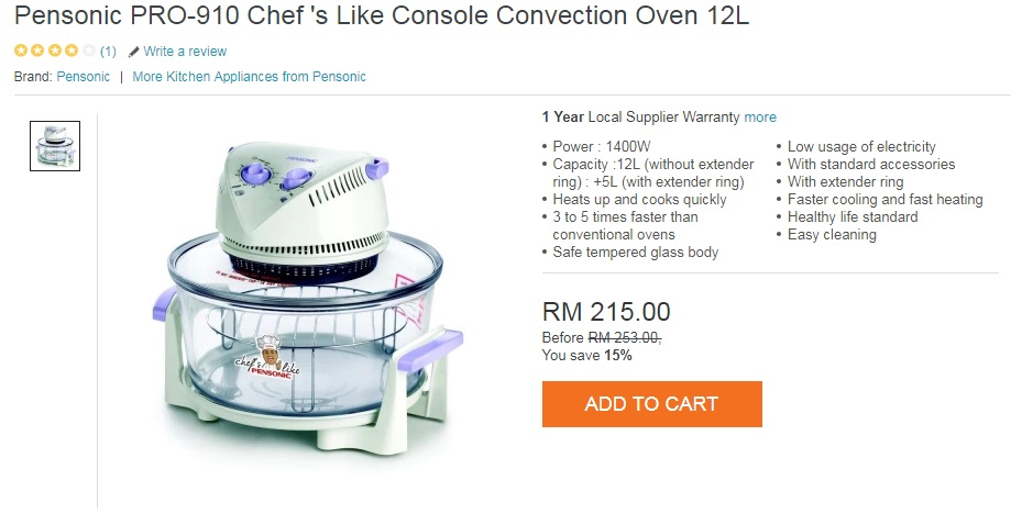 Pensonic PRO-910 Chef 's Like Console Convection Oven 12L.jpg