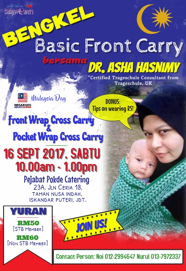 Bengkel Basic Front Carry Bersama Dr. Asha Hasnimy – 16 September 2017