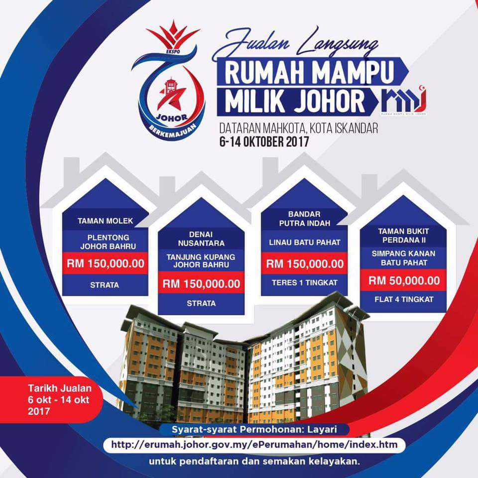 Jualan Langsung Rumah Mampu Milik Johor (RMMJ) | 6 – 14 Oktober 2017