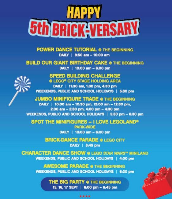 Aktiviti Menarik Sepanjang September 2017 Sempena Legoland 5th Brick-Versary