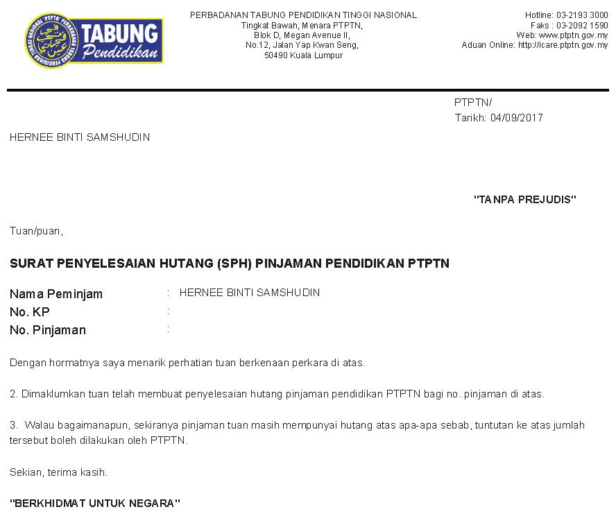 Surat Penyelesaian Hutang (SPH) Pinjaman Pendidikan PTPTN