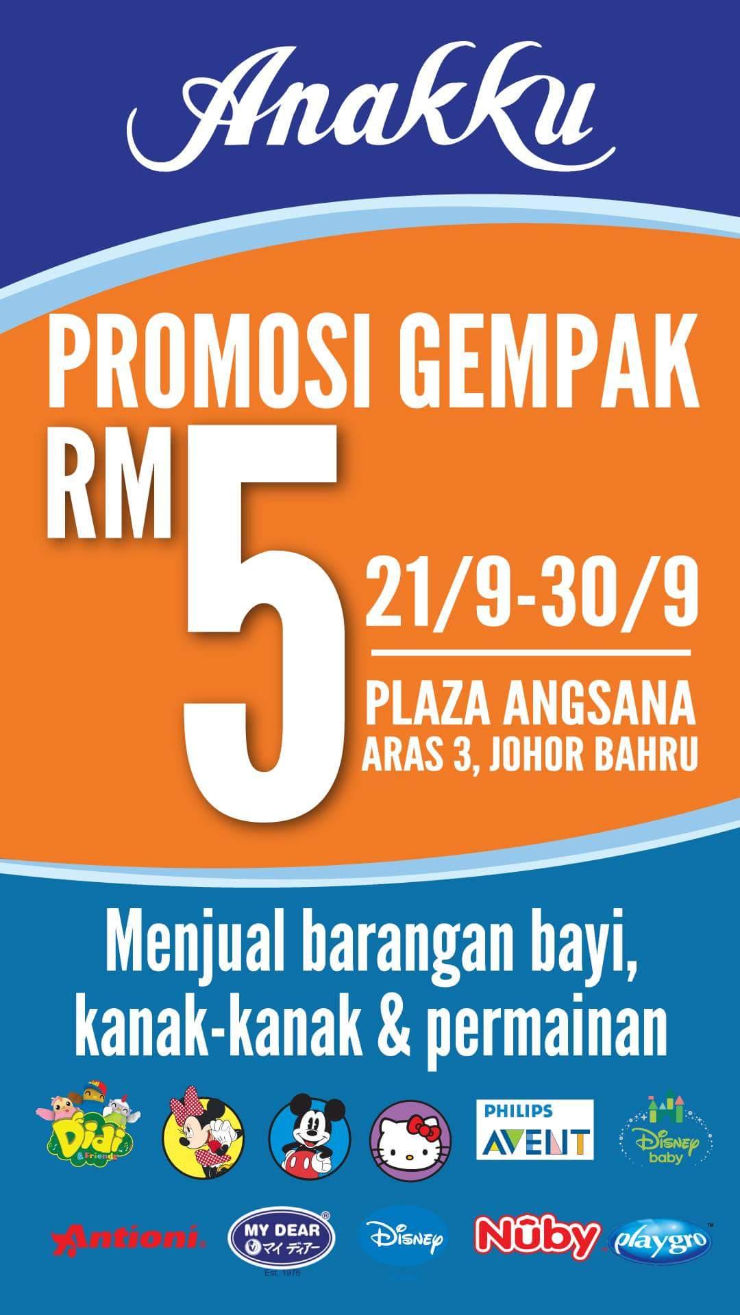 Promosi Gempak RM5 Anakku Plaza Angsana 21-30 Sept 2017