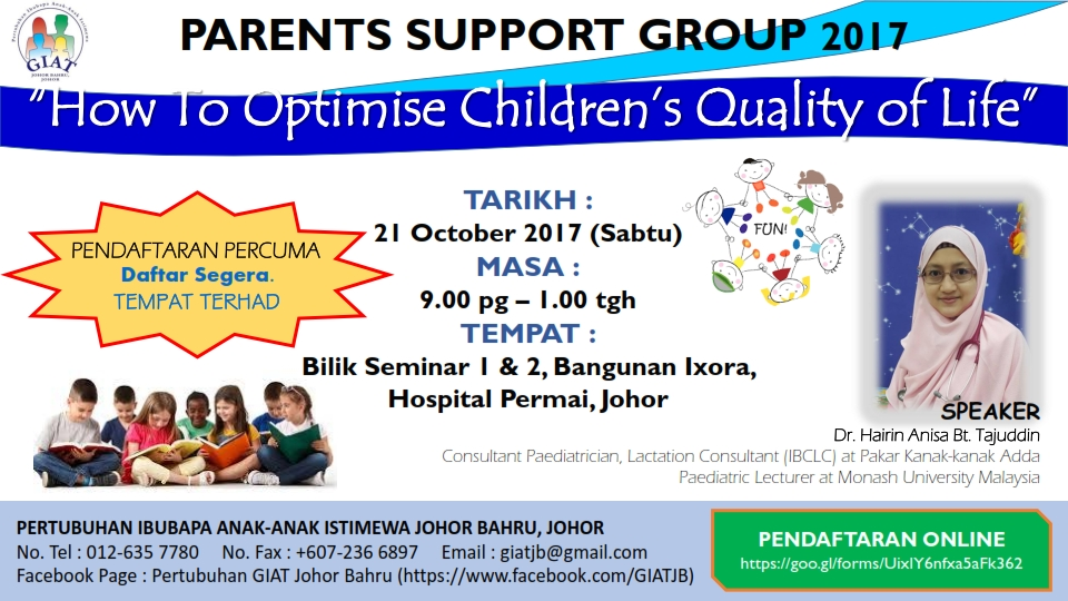 "Parents Support Group 2017 – 21 Oct 2017 | ""How To Optimise Children's Quality of Life"""