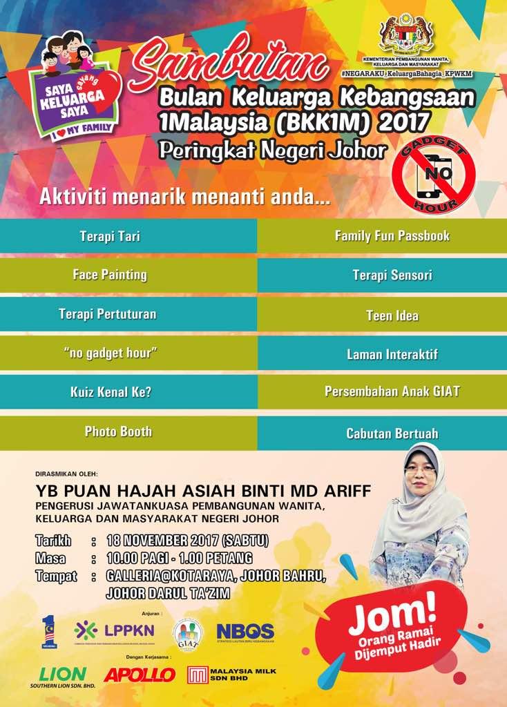 Sambutan Bulan Keluarga Kebangsaan 1Malaysia (BKK1M) 2017 – 18 November 2017