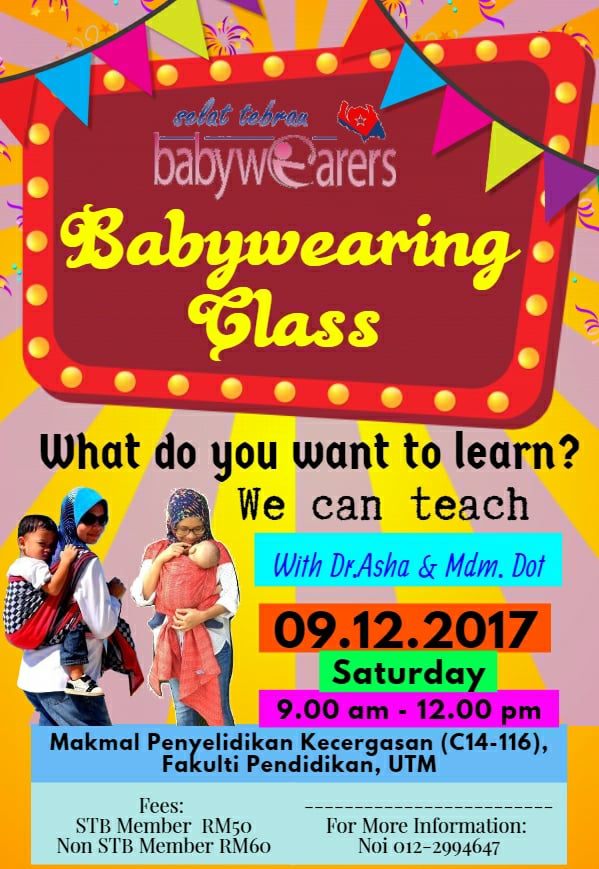 Babywearing Class With Dr. Asha & Mdm. Dot – 9 December 2017