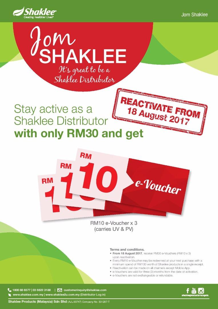 Jom Kekal Aktif Sebagai Shaklee Distributor Dengan Hanya RM30
