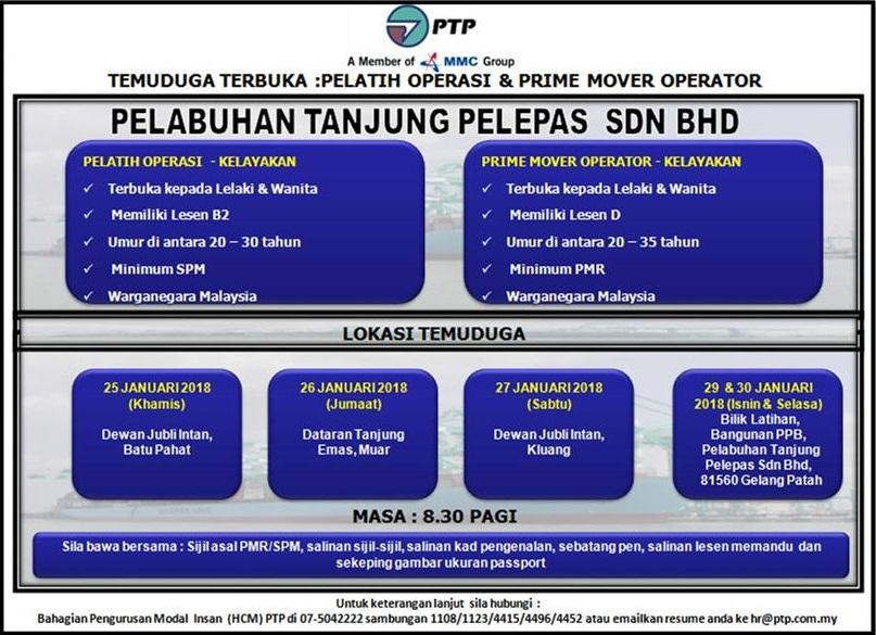 Temuduga Terbuka: Pelatih Operasi & Prime Mover Operator di Pelabuhan Tanjung Pelepas