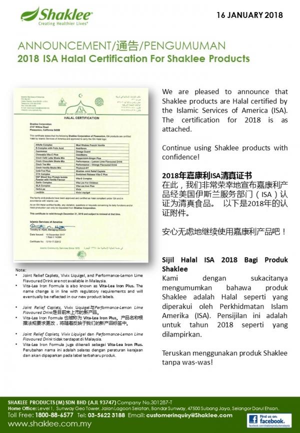 Sijil Halal ISA 2018 Bagi Produk Shaklee
