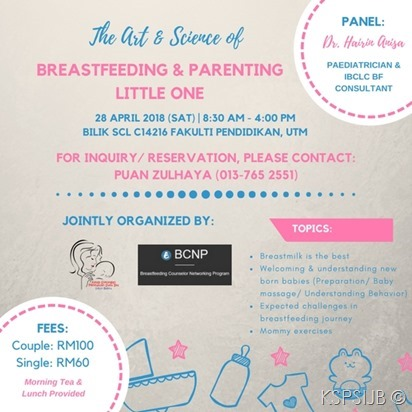 The Art & Science of Breastfeeding And Parenting Little One – 28 April 2018