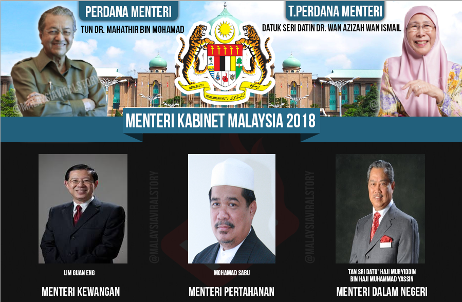 Senarai Menteri Kabinet Malaysia 2018 (Terkini)