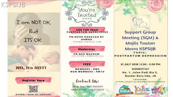 Support Group Meeting (SGM 5.0)– Post Partum Depression (PPD) & Majlis Tautan Mesra KSPSIJB