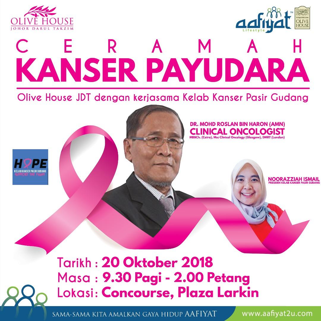 Ceramah Kanser Payudara, Concourse, Plaza Larkin – 20 Oktober 2018