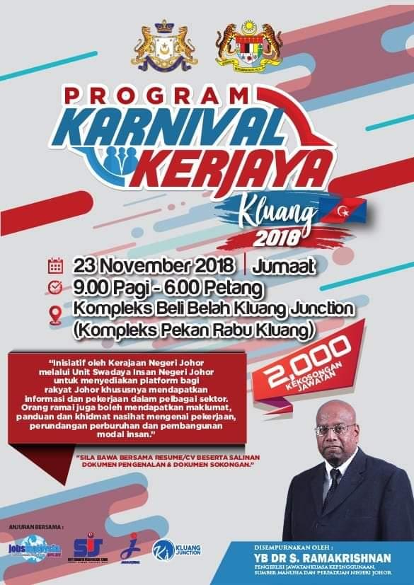 Program Karnival Kerjaya Kluang 2018 | 23 November 2018