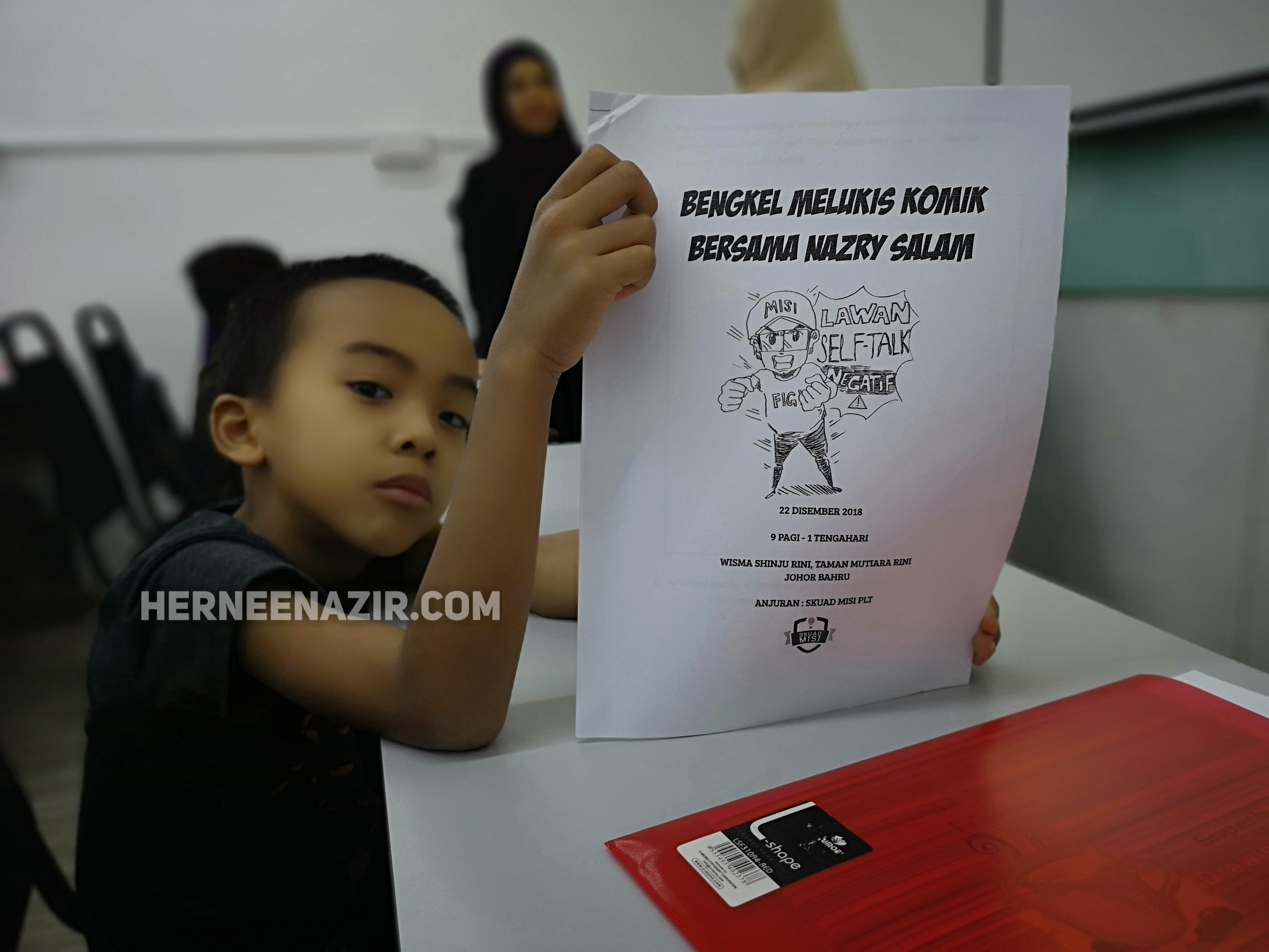 Ilham Syahmi di Bengkel Melukis Komik Bersama Nazry Salam