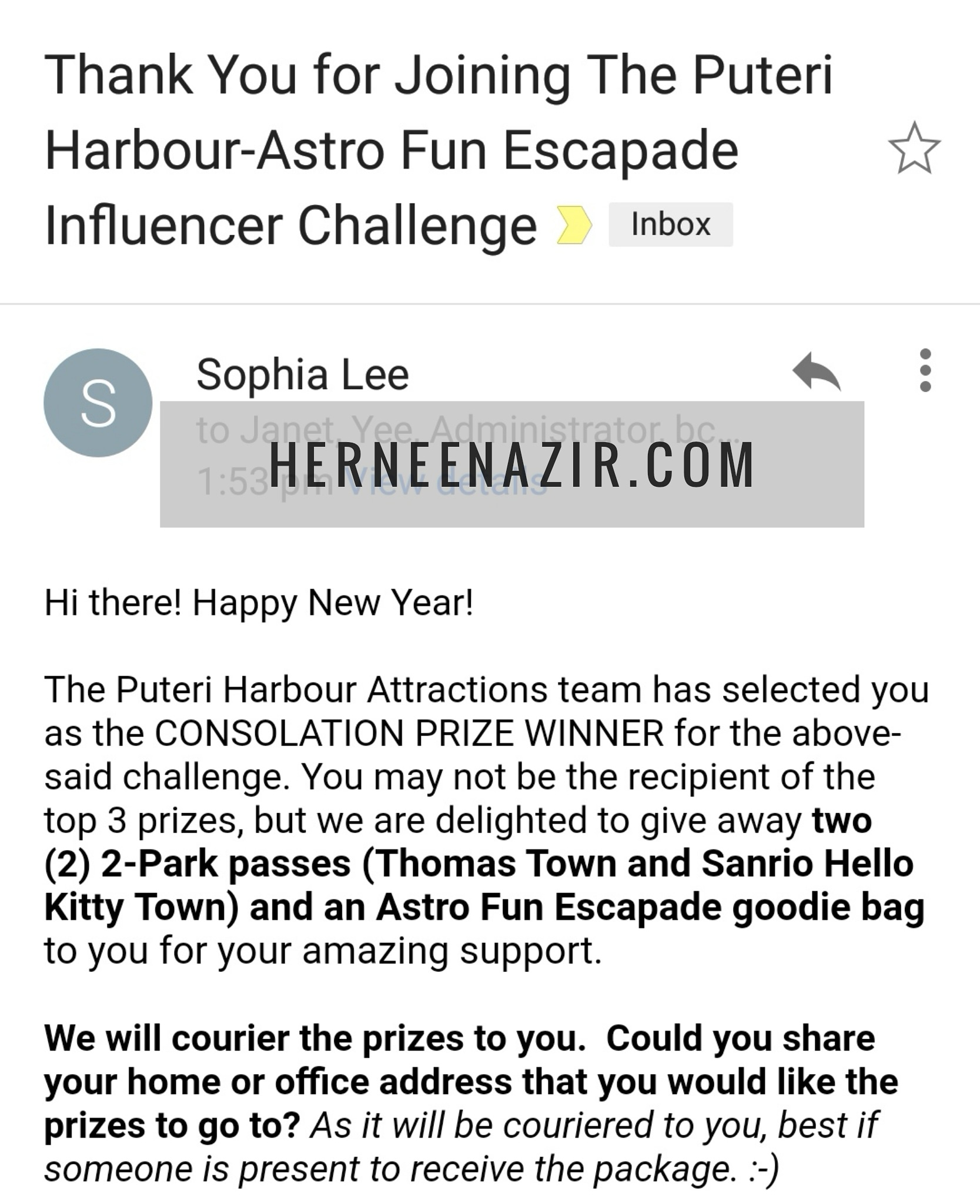 Consolation Prize Winner – The Puteri Harbour-Astro Fun Escapade Influencer Challenge