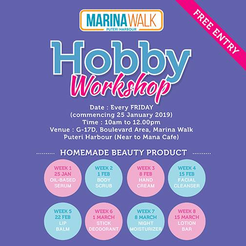 Hobby Workshop – Marina Walk Puteri Harbour (Every Friday)