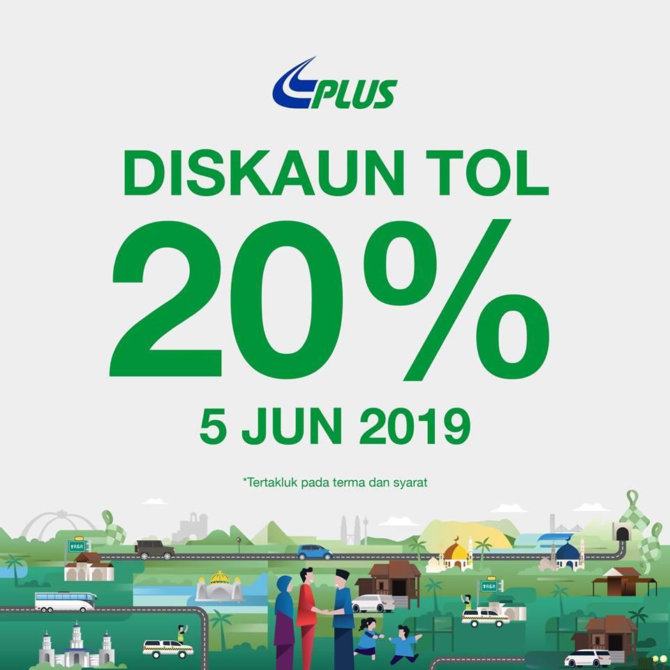 PLUS Tawarkan Diskaun Tol Sebanyak 20% Pada 5 Jun 2019