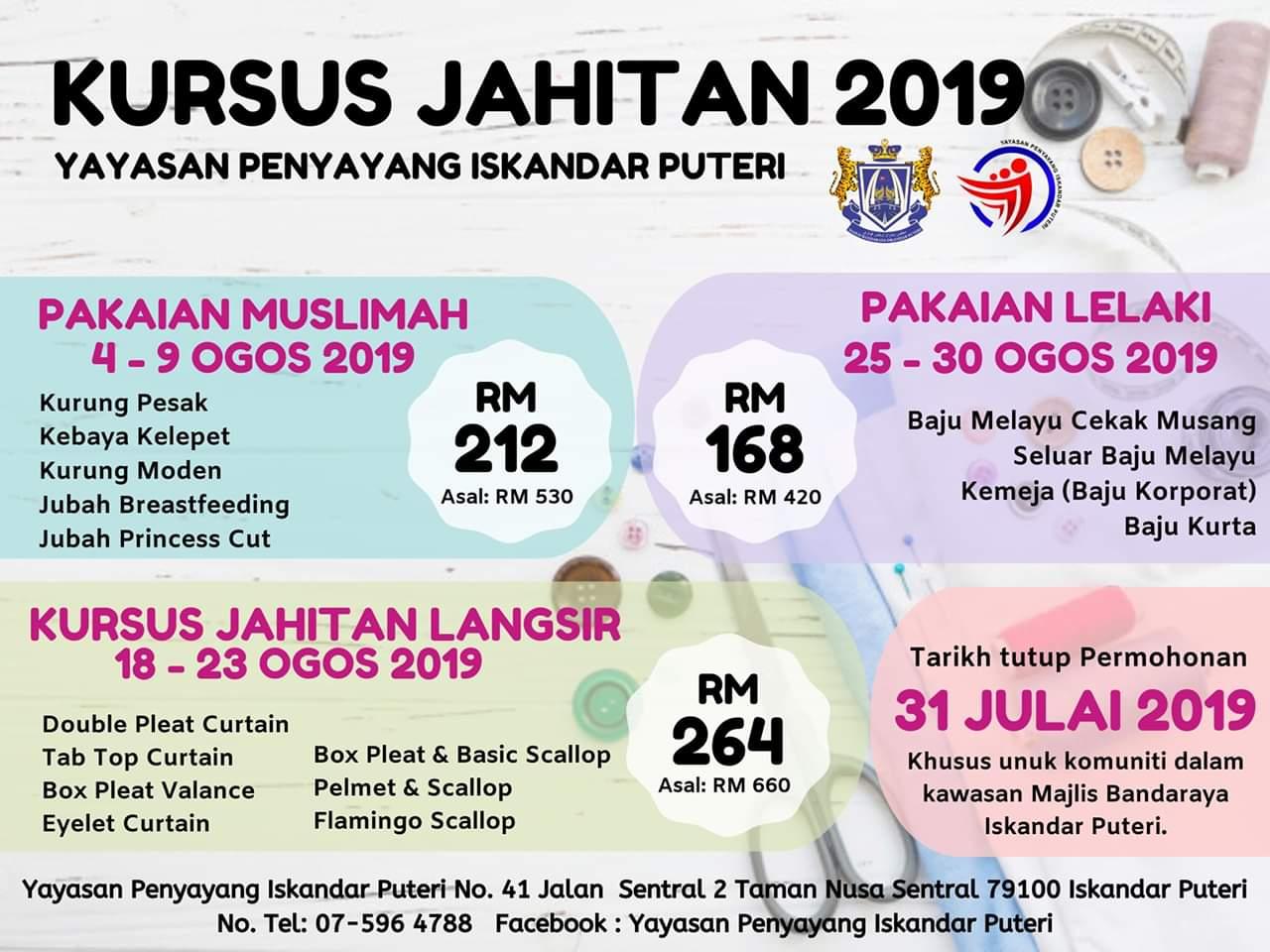 Kursus Jahitan 2019 Anjuran Yayasan Penyayang Iskandar Puteri