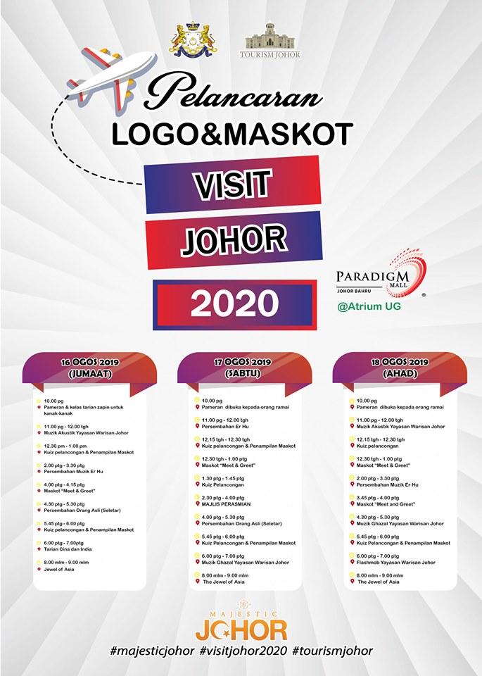Pelancaran Logo & Maskot Visit Johor 2020 – Paradigm Mall Johor Bahru (17 Ogos 2019)