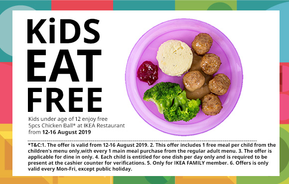IKEA Promotion – Kids Eat FREE (12-16 August 2019)