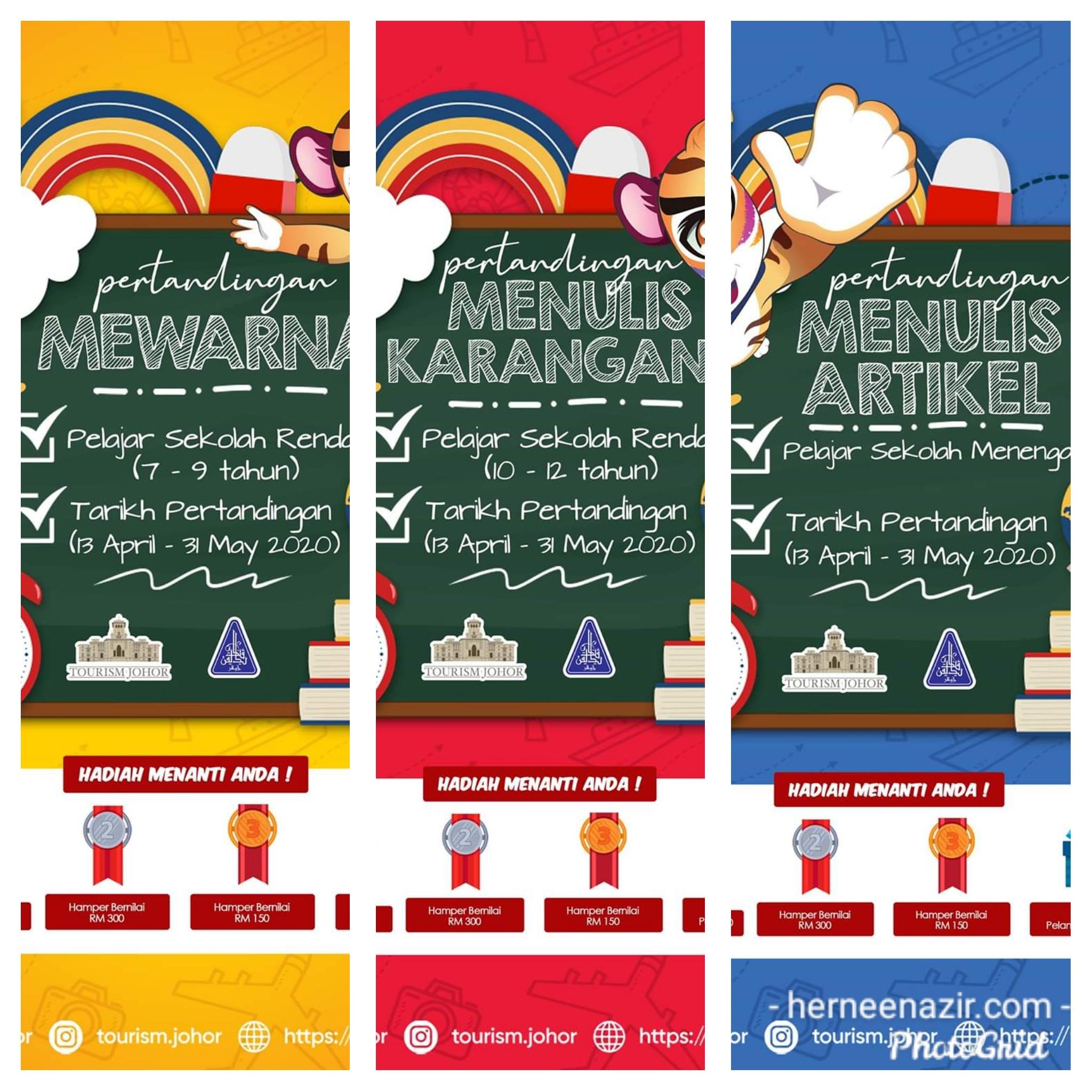 Pertandingan Mewarna, Menulis Karangan & Menulis Artikel Anjuran Tourism Johor & JPNJ