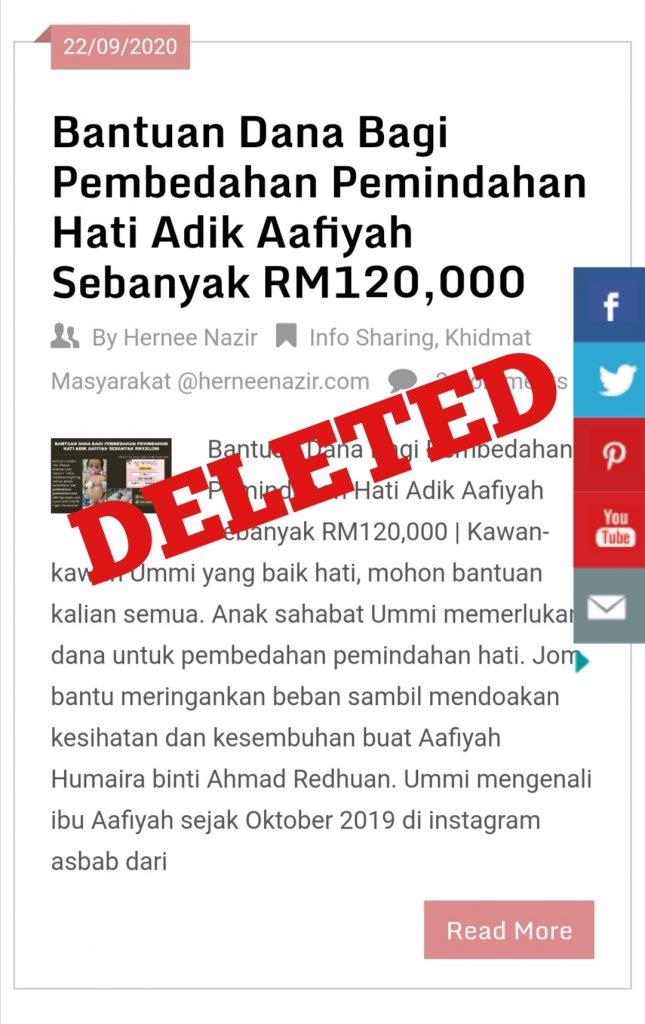Al-Fatihah Buat Aafiyah Humaira binti Ahmad Redhuan