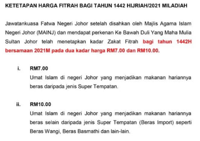 Kadar Bayaran Zakat Fitrah Bagi Negeri Johor Tahun 1442H / 2021M